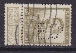 Belgium Perfin Perforé Lochung 'E.Co.' Mi. 93, 20c. Albert I. Stamp (2 Scans) - Perfins