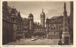 Frankfurt Am Main Rathhaus Und Einheitsdenkmal Original Kupferdruck - Frankfurt A. Main