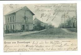 CPA GRUSS AUS NEUENHAGEN - POSTAMT - BANHOFSTRASSE - OBLITEREE EN 1903 - Allemagne