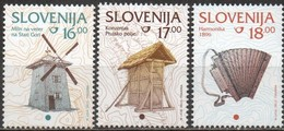 Slovenia 1994-1999 Scott 210 210A 211 MNH Windmill, Corn Storage Building, Accordion - Slovénie