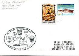 "(FC-13) Cachet-Umschlag MJ-Boot Frankenthal MJ 332 ""MCMFORSOUTH 2002 Griechenland"" MiF GL TS 23.9.02 - Ships"