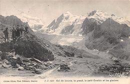 Col De Louvie, Le Grand, Le Petit Combin Et Les Glaciers - Animée - Sceau Fionnay - 1908 - VS Wallis