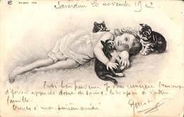 Enfant Jeune Fille Allongée Dans L'herbe Avec 3 Chatons 1902 - Scènes & Paysages