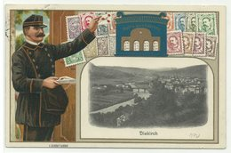 Diekirch Briefträger, Briefkasten & Briefmarken Präge-Litho 1912 Nach Belgien RR!! - Diekirch
