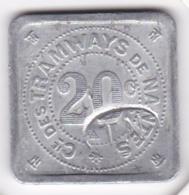 44. Pays De La Loire. Compagnie Des Tramways De Nantes. 20 Centimes. Contremarque , En Aluminium - Monétaires / De Nécessité