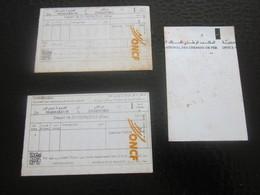 Essaouira/Marrachech Maroc Titre Transport-Tickets Simples Office National Chemins De Fer- BILLET TICKET ENTRÉE 2012 - Chemins De Fer