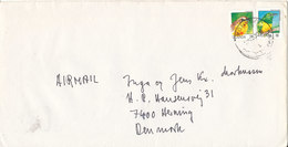 Uganda Cover Sent Air Mail To Denmark With 2 BIRD Stamps - Uganda (1962-...)
