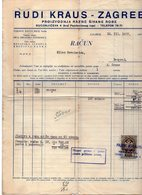 1937 YUGOSLAVIA, CROATIA, ZAGREB, RUDI KRAUS, TEXTILE FACTORY, INVOICE ON LETTERHEAD, 1 FISKAL STAMP - Invoices & Commercial Documents
