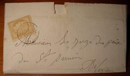 Saint-Sernin-sur-Rance 1872 (Aveyron) Lettre Locale écrite à Mazies Affranchie à 15 Centimes - 1849-1876: Periodo Clásico