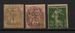 Syrie - 1920 - N°Yv. 21 - 22 - 23 - OMF 3 Valeurs - Neuf Luxe ** / MNH / Postfrisch - Syria (1919-1945)