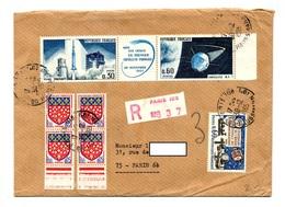 Lettre Recommandée Paris 105 Sur Bande Satellite  Amiens - Postmark Collection (Covers)