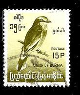 BIRMANIE 95° 15p Olive Série Courante Oiseaux Endémiques Rollier (10% De La Cote + 0,26) - Myanmar (Burma 1948-...)