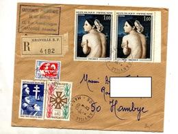 Lettre Recommandée Grandville Sur Ingres Medaille Bir Hakeim - Postmark Collection (Covers)