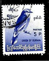 BIRMANIE 93° 5p Bleu-violet Série Courante Oiseaux Endémiques Rollier (10% De La Cote + 0,26) - Myanmar (Burma 1948-...)