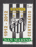2012 San Marino Santos Football  Complete  Set Of 1 MNH   ** BELOW FACE VALUE *** - San Marino