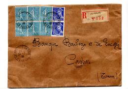 Lettre Recommandée Le Pougol Sur Semeuse Mercure - Postmark Collection (Covers)