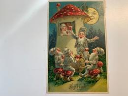 Carte à Relief Champignon Nains Lutins Bonne Année - Anno Nuovo