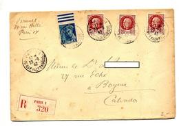 Lettre Recommandée Paris 1 Sur Petain Mercure - Postmark Collection (Covers)