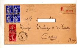 Lettre Recommandée Pougol Sur Paix Semeuse - Postmark Collection (Covers)