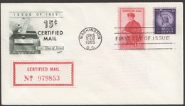 1955  Certified Mail 15 Cent;  On Unaddressed FDC - Special Delivery, Registration & Certified