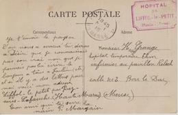 """Cachet """"Hôpital De Liffol-le-Petit (Haute-Marne)"""" Sur CP Liffol-le-Petit (2 Vues : La Rue Haute, La Rue De La Fontaine) - Marcophilie (Lettres)"""