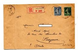 Lettre Recommandée Percy Sur Semeuse - Postmark Collection (Covers)