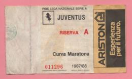 Biglietto D'ingresso Stadio Juventu Riserva A 1987/88 - Biglietti D'ingresso