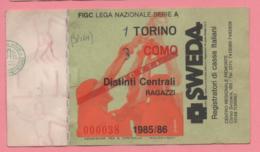 Biglietto D'ingresso Stadio Torino Como 1985/86 - Biglietti D'ingresso