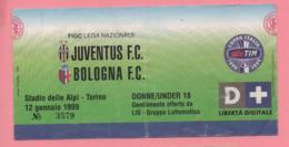 Biglietto D'ingresso Stadio Juventus Bologna 12 Gennaio 1999 - Biglietti D'ingresso