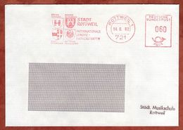 Brief, Absenderfreistempel, Staedtepartnerschaft Brugg Hyeres Imst, 60 Pfg, Rottweil 1982 (77930) - Marcophilie - EMA (Empreintes Machines)