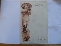"""(Marne - 51 - Publicité - Illustr.  CLOP ??)  -  Menu Vierge """" Champagne Vve. MORLAY & FILS """" à Reims........voir Scans - Menus"""