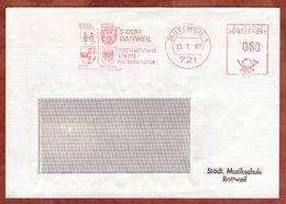 Brief, Absenderfreistempel, Staedtepartnerschaft Brugg Hyeres Imst, 60 Pfg, Rottweil 1981 (77932) - BRD