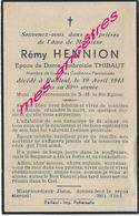 En 1943-Bailleul (59)- Rémy HENNION époux D'Ambroisie THIBAUT 80 Ans - Décès