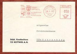 Brief, Absenderfreistempel, Staedtepartnerschaft Brugg Hyeres Imst, 50 Pfg, Rottweil 1977 (77936) - BRD