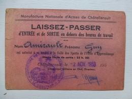 Châtellerault MANUfacture D'Armes, Laissez-passer 1953 (rose), Cachet ; PAP05 - Historische Dokumente