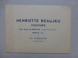 Paris R Boétie, Henriette BEAUJEU, Couture, Carte Visite Ancienne ; PAP05 - Visiting Cards
