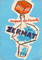 """08543 """"ZERMAT - ACQUA DA TAVOLA - BOZZETTO PUBBLICITARIO IN ACQUERELLI E TEMPERE"""" ORIG. - Cartelli Pubblicitari"""