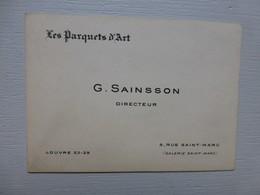Les Parquets D'art, G. SAINSSON, Louvre (galerie St Marc) Carte Visite Ancienne ; PAP05 - Visiting Cards