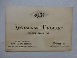 Restaurant DROUANT, Paris,  Carte Visite Ancienne ; PAP05 - Visitenkarten
