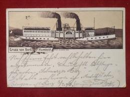 AK Schiff Dampfer Gruß Von Bord Humbold Litho 1893 - Piroscafi