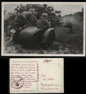 WW II Postkarte Militär: Motorrad , Kradschützen Sind Auf Feind Gestoßen ,gebraucht Feldpost - Hamburg 1941 , Bedarfse - Weltkrieg 1939-45