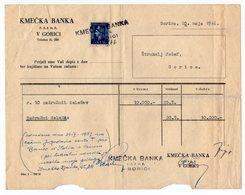 28.05.1946. YUGOSLAVIA, SLOVENIA, GORICA, FARMER'S BANK, KMECKA BANKA, 1 REVENUE STAMPS - Invoices & Commercial Documents