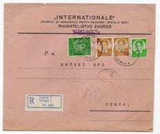 03.03.1937 YUGOSLAVIA, CROATIA,, ZAGREB TO ZEMUN, INTERNACIONALE INSURANCE, COMPANY LETTERHEAD COVER, REGISTERED MAIL - 1931-1941 Kingdom Of Yugoslavia