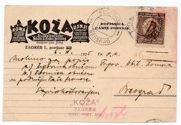 1925 YUGOSLAVIA, CROATIA, ZAGREB TO BELGRADE, LEATHER MANUFACTURING,KOZA, CORRESPONDENCE CARD - 1931-1941 Kingdom Of Yugoslavia