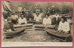 Siam Thailand_Siamese Musicians_1900's_n°10_Photo By J. Antonio. Bangkok_Old Vintage CPA_Collection - Thailand