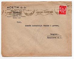 1938 YUGOSLAVIA, CROATIA, ZAGREB TO BELGRADE, ACETIK AD, COMPANY LETTERHEAD COVER - 1931-1941 Kingdom Of Yugoslavia