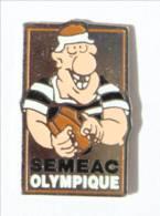 Pin's SEMAC (65) - SEMEAC OLYMPIQUE - Le Rugbyman Et Son Ballon Ovale - I544 - Rugby