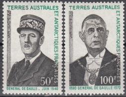 TAAF 1972 Yvert 46 - 47 Neuf ** Cote (2015) 70.00 Euro Général De Gaulle - Terres Australes Et Antarctiques Françaises (TAAF)