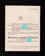 LIEGE 1932 Décès De JOSEPH BOULET FOULON  Fut Chef D'école - Faire-part