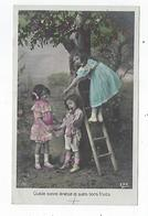 CPA - Carte Photo - Fillette - Enfant - Pommier -  échelle - Quelle Bonne Dinette Et Quels Bons Fruits - Scene & Paesaggi